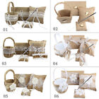 Burlap Wedding Favour Kit Ring Pillow + Flower Basket + Guest Book + Pen Set New