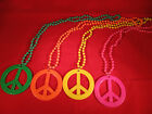 """Large Plastic Beaded Peace Sign Necklace 33"""""""