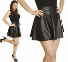 BLACK Mini SKIRT Micro Faux Leather High Waisted Waist Pleated SKATER Flared
