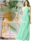 PAIGE Mint Green One Shoulder Chiffon Long Maxi Bridesmaid Dress UK 6 -18