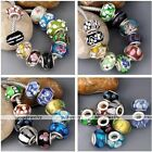 10x Lampwork Glass 925 Sterling Silver Plated European Flower Spacer Loose Beads