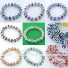 Fashion Jewelry Crystal Glass Flower Faceted Rondelle Beads Bangle Bracelet