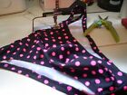 Mens Swimsuit Spandex Polka Dots Neon Pink Black Brief Thong or Rio Ruche Gather