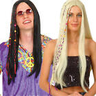 Cool Hippie Wig Mens Ladies 1960s Fancy Dress Groovy Hippy 60s Adults Accessory