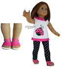 """COMPLETE Outfit Ladybug Tunic + Leggings + SANDALS for 18"""" American Girl Dolls"""