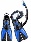 NEW 2016 - BWS Snorkel Set Package - Silicone Mask Dry Snorkel Perfomance Fins