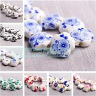 20pcs 15mm Star Charms Flower Patterns Ceramic Porcelain DIY Loose Spacer Beads