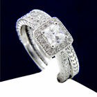 New 0.71 CT 925 Solitaire Sterling Silver Women Engagement Wedding Band Ring Set