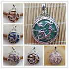XJ-619 Excellent Silver Plated Dragon Wrapped Round Mixed Gemstone Pendant Bead