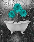 Black White Teal Wall Art, Daisy Flowers, Decorative Floral Bathroom Picture