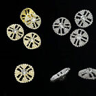 4 x Beautiful Clear Glass Rhinestone Round Shank Button Silver/Glold Plated