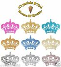 4 Large & Small Iron on Crown glitter hotfix crown transfer t-shirt transfer
