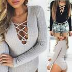 New Sexy Women Bodysuit Rompers Long Sleeve Ribbed Jumpsuits Pullover Leotard