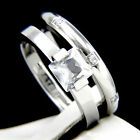New 2 PC Women's Engagement Stainless Steel Wedding Bridal Band Ring Set