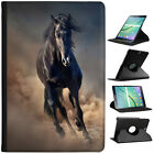 Black Strong Beauty Horse Stallion  Cover Leather Case For Samsung Galaxy Tablet