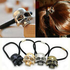 Lady Punk Rock Retro Metallic Skull Hair Band Rope Tie Wrap Ponytail Holder