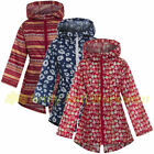 Kids Girls Lightweight Fishtail Rain Jacket Coat Hooded Pac Away Showerproof Mac