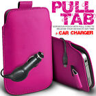 LEATHER PULL TAB POUCH SKIN CASE COVER & CAR CHARGER FOR VARIOUS ACER PHONES