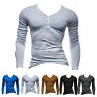 2015 NEW Men's Fashion Slim Fit Cotton V-Neck Long Sleeve Casual T-Shirt Tops