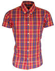 Relco Short Sleeve Bold Check Shirt CK15 - Orange - 60s Button Down Mod Skin