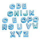 10pcs Random Mixed White Rhinestone Alphabet A-Z Alloy Letter Bead Charms C