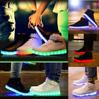 Unisex Men Women LED Night Light Light Up Trainer Lace Up High Top Shoes Sneaker