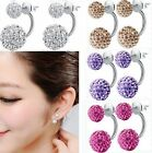 Fashion Women Jewelry Silver Plated Double Beads Crystal Stud Earrings Girl Gift