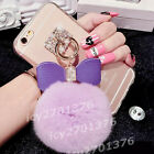 Bling Clear Crystal Diamond bow ring ball tassel hard Back shell Case Cover Skin