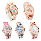 Fashion Women Girl Silicone Flower Printed Analog Quartz Watches Wrist Watch