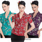 RKP91 Hell Bunny Birdy 40s 50s Style Retro Rockabilly Blouse Shirt Top Pin Up