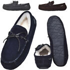 Lambland Mens Genuine Full Sheepskin Moccasin Slippers - Grey, Brown, Navy