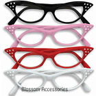 A264 50's Grease Cat Eye Glasses Clear Lense 1950s Rhinestones Cateye Rockabilly