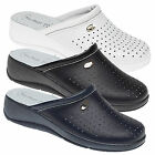 Ladies New Black White Navy Leather Slip On Nursing Clogs Shoes Ladies 3 - 8