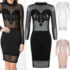 LADIES FLOCK PRINT SHEER MESH MIDI DRESS WOMEN BODYCON LONG SLEEVE POLO NECK TOP