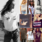 Fashion Womens Summer Tops Loose Tee Short Sleeve T shirt Casual Funny Blouses