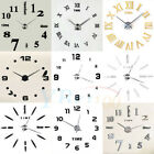 Modern DIY Large Wall Clock Kit 3D Mirror Surface Sticker Home Office Room Decor