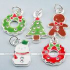 Christmas Snowman Crystal Rhinestone Enamel Alloy Pendant Charm Beads Findings
