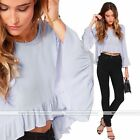 New Sexy Fashion Women Speaker Sleeve Casual T-Shirt Frill Tops Blouse S-XL