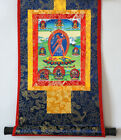 SILK BROCADED BLESSED GOLDEN WOOD SCROLL TIBETAN THANGKA: TANTRIC VAJRAYOGINI