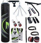 RDX 4ft 5ft Punch Bag Boxing Set Heavy Filled Gloves Bracket Chains Pad MMA AR