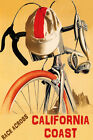 BICYCLE RACE ACROSS CALIFORNIA COAST CYCLING BIKE SPORT USA VINTAGE POSTER REPRO