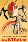BICYCLE THE GREAT OCEAN ROAD AUSTRALIA CYCLING BIKE BIKING VINTAGE POSTER REPRO