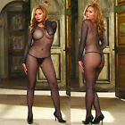 Plus Size Lingerie One Size Queen Long Sleeve Fishnet Bodystocking  DG15X