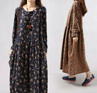Women Long Sleeves Loose Floral Chinese Retro Skirt Coat Cotton Robe GownDress