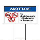 No Skateboards, Rollerblades Or Bicycles Notice OSHA / ANSI Yard Sign / Stakes