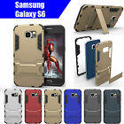 TPU Case Cover Samsung Galaxy S6 Iron Man Armor Shockproof Heavy Duty Stand