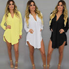 Sexy Women Long Sleeve V-Neck Oversize Loose Chiffon T Shirt Top Blouse Dress