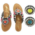 Naughty Monkey Electric Shine Women's Beaded Thong Sandals Shoes