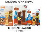 NYLABONE PUPPY TWIN PACKS TEETHING DOG CHEW BONE TOY CHICKEN FLAVOURS ALL SIZES