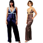 Plus Size Lingerie Size 1X 2X or 3X  Blue or Brown Charmeuse Pajamas VX2033X